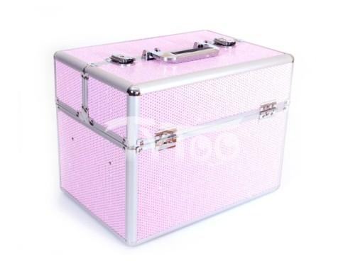 Nagy kozmetikai bőrönd Csillogós Rózsaszín