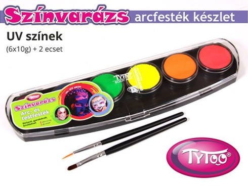 TyToo Színvarázs Arcfesték szett 6x10g UV-neon színek