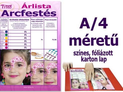 Arcfestés árlista A/4 Színes fóliázott karton