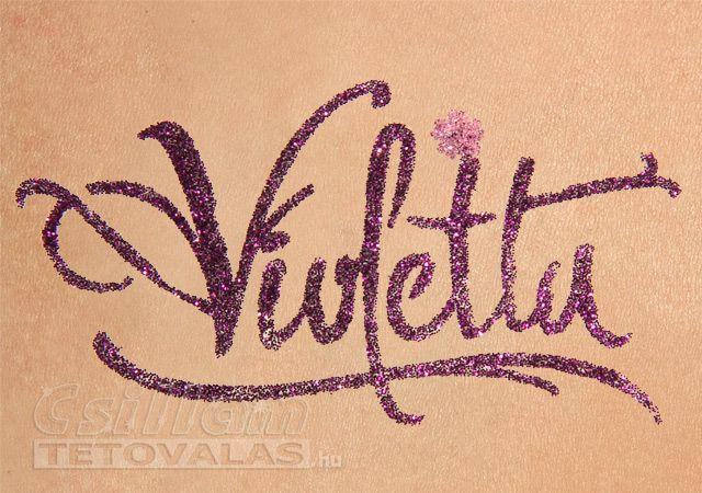 Violetta csillámtetoválás sablon